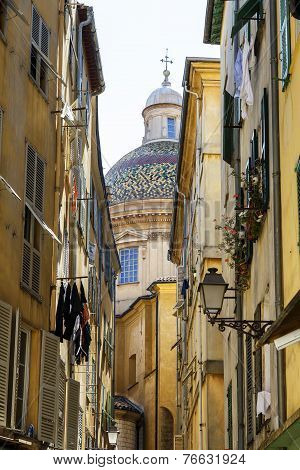 Narrow Street In The Old Town Of Nice, France