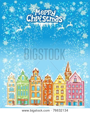 Christmas and New Year holidays card with snowy old town