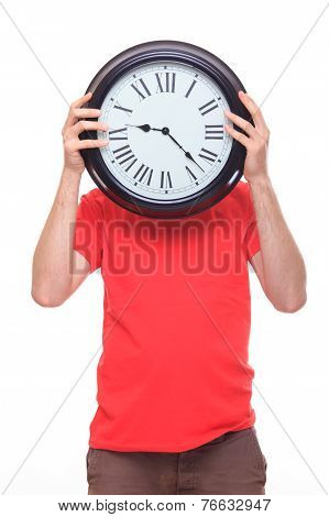 Person With Big Clock Instead Of Head