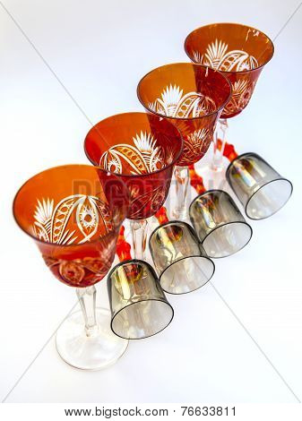 Ware for table layout. Crystal shot glasses and wine glasses