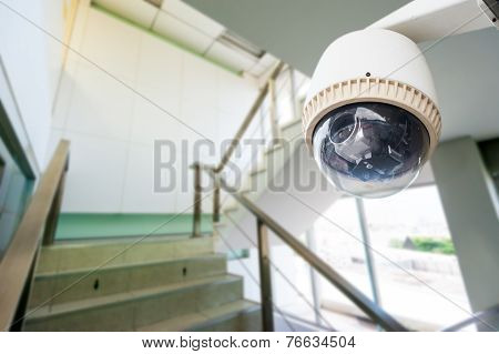 Cctv Camera Operating Over Stairway
