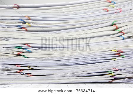 Close Up Pile Of Paperwork Place On Finance Account