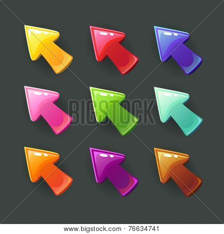 Cute cartoon glossy arrows