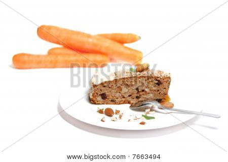 Carrot Cake  With Carrot On Isolated White Background