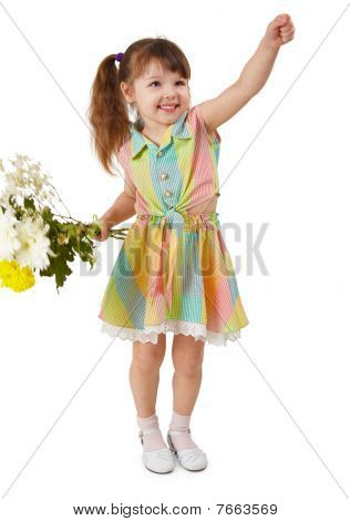 Cheerful Child With Bouquet Of Flowers