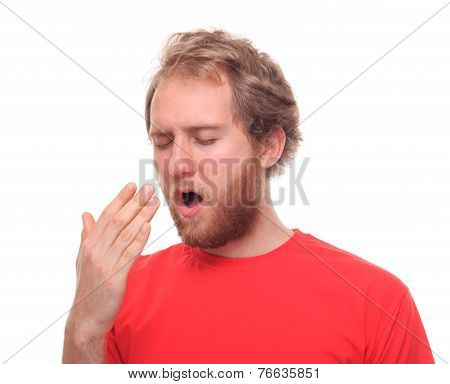 Bearded Young Man Yawning