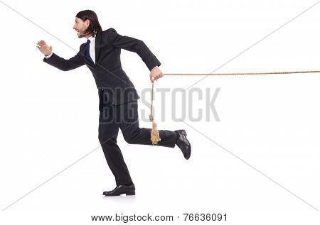 Young businessman pulling rope isolated on white