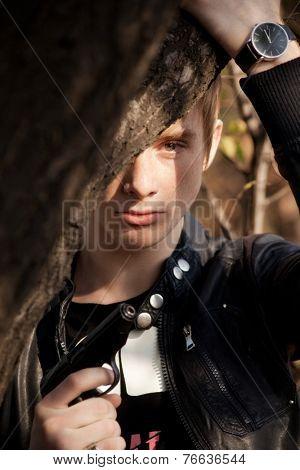 portrait of handsome men. outdoor shot