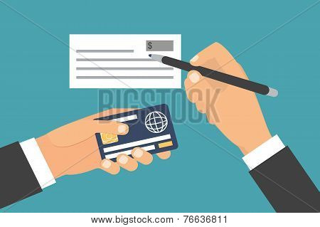Hands holding money, plastic card. Exchange, transfer and purchasing. Flat design vector illustratio