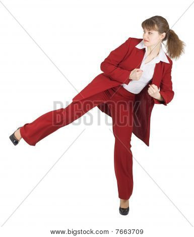 Woman Kicked On White Background