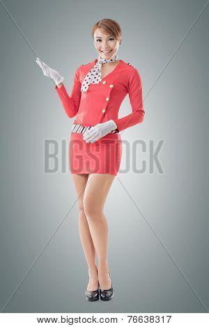 Asian flight attendant portrait, full length isolated.