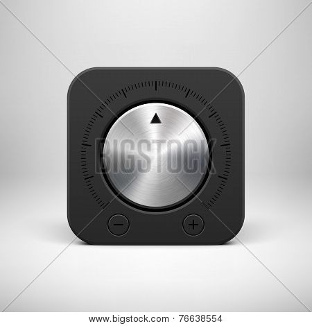 Black Abstract Icon With Volume Knob Button