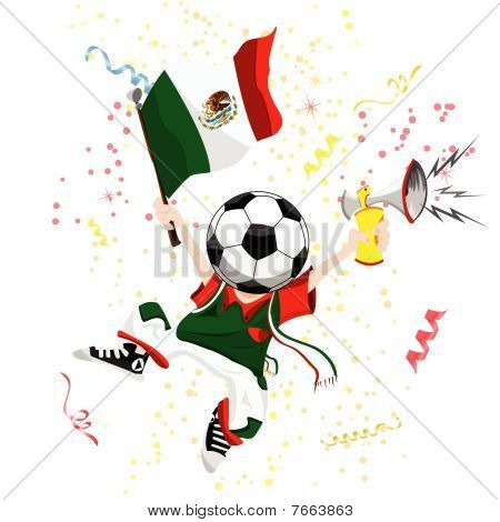 Mexico Soccer Fan with Ball Head.
