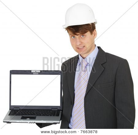 Construction Engineer With Computer
