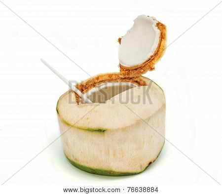 Coconut with drinking straw,Young coconut and coconut water.