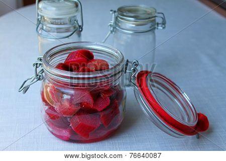 Rhubarb in the vintage jar