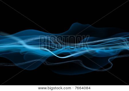 Abstract black and blue waves and smoke background texture