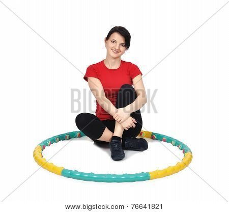Girl Sitting With Hula Hoop