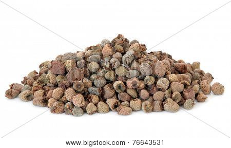 Dried raspberry fruit used in chinese herbal medicine over white background. Fu pen zi.