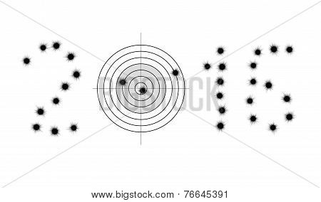 Bullet Holes And Target In Shape Of 2016