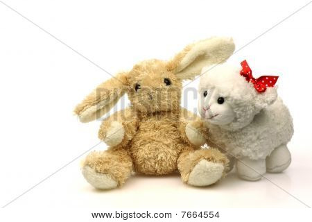 Easter bunny with a little spring lamb