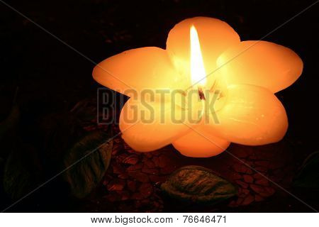 Flower-shaped candle burning on a black background