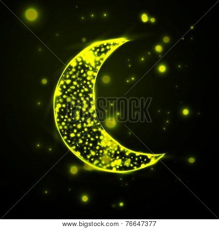Shiny crescent moon  on green background