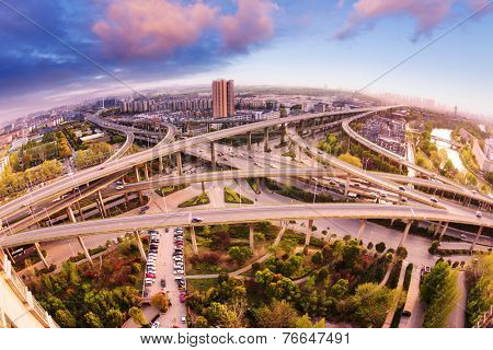 overpass and cityscape of modern urban city