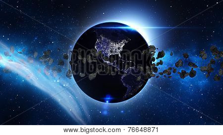 Planet Earth with sun and asteroid in universe or space, Globe and galaxy in a nebula clouds