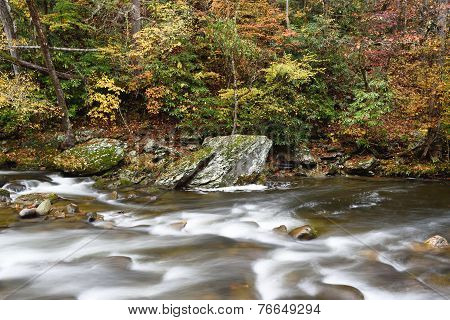 Flowing river with autumn colors.