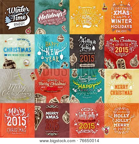 Christmas Vector Vintage Cards Set. Xmas Holiday Design, Engraving Graphic Elements. Typographic Labels for Greeting Cards, Banners and Posters Design. Old Paper Background Texture