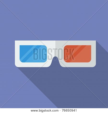Icon Of 3D Cinema Glasses. Flat Style