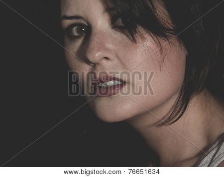 hurt, vulnerable woman concept of psychological abuse, beautiful young brunette