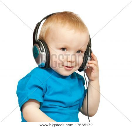 Boy In  Blue Shirt With Headphones