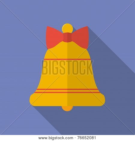 Icon Of Christmas Bell With A Bow. Flat Style