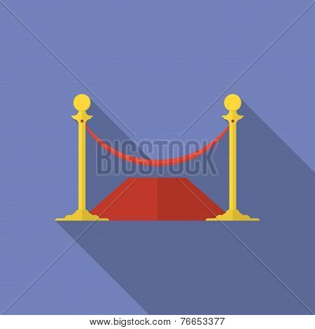Icon Of Rope Barrier. Flat Style
