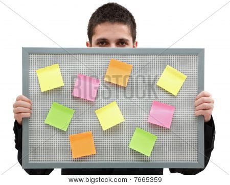 Businessman With A Reminder Board