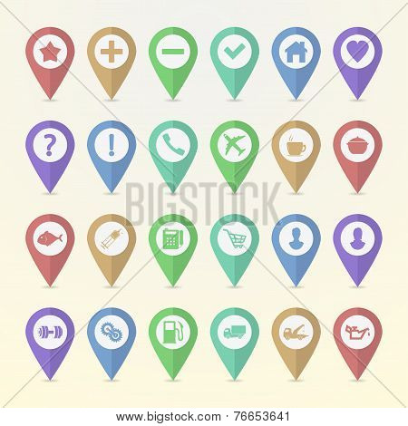 Set Of Map Pointer Icons