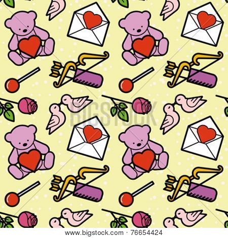 Valentine's day symbols seamless pattern. Editable vector illustration.