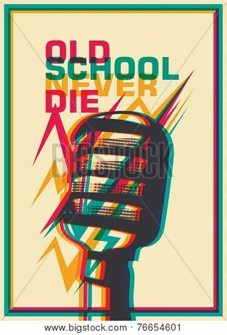 Retro poster with microphone. Vector illustration.