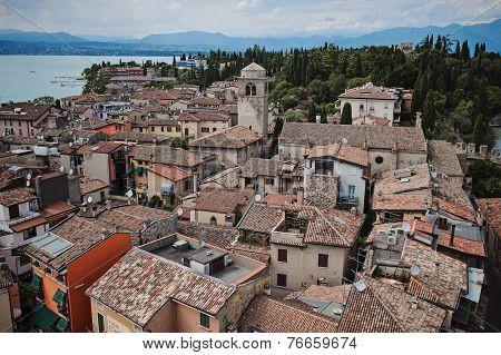 View of Sirmione from Scaligers Castle on Garda Lake Italy