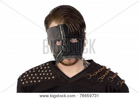 Photo of the angry man in mask