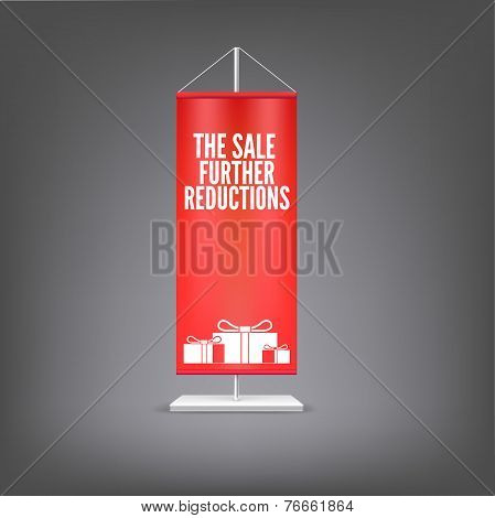 The sale further reductions. Vertical red flag at the pillar.