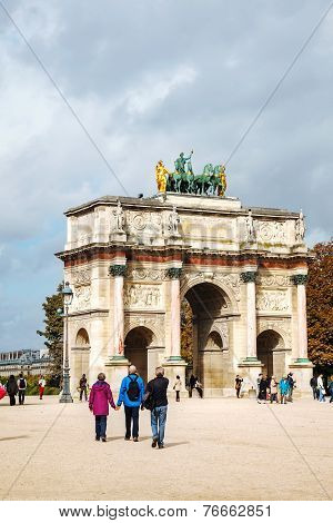Arc De Triomphe Du Carrousel In Paris
