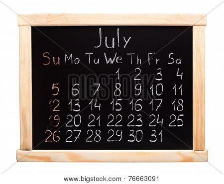 2015 year calendar. July. Week start on sunday
