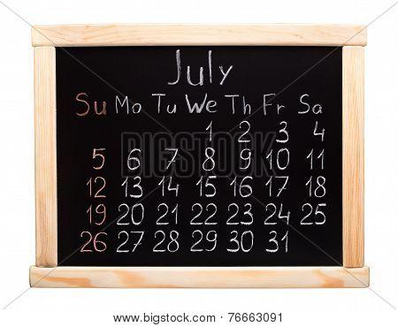 2015 year calendar. July. Week start on sunday