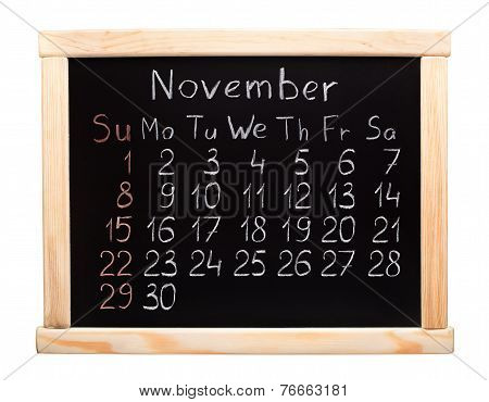 2015 year calendar. November. Week start on sunday