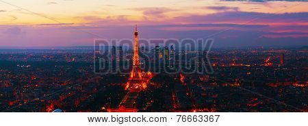 Paris Panoramic Cityscape With Eiffel Tower