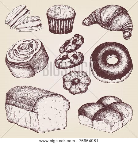 Vintage bakery illustration.