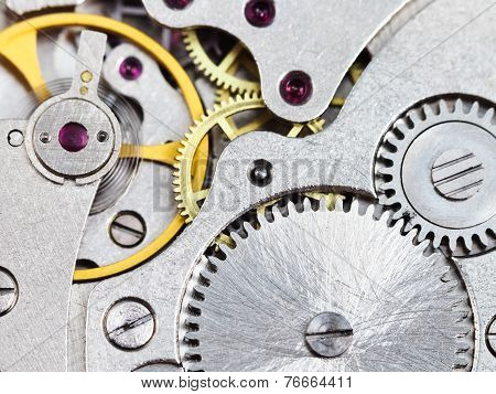 Background From Steel Clockwork Of Vintage Watch